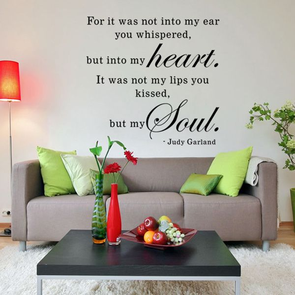 Fashion English Love Letter Pattern Wall Sticker For Bedroom Livingroom Decoration