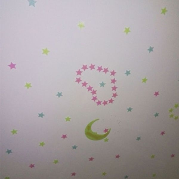100PCS Stylish Luminous Shinning Star Pattern 3D Wall Sticker For Bedroom Ceiling Decoration