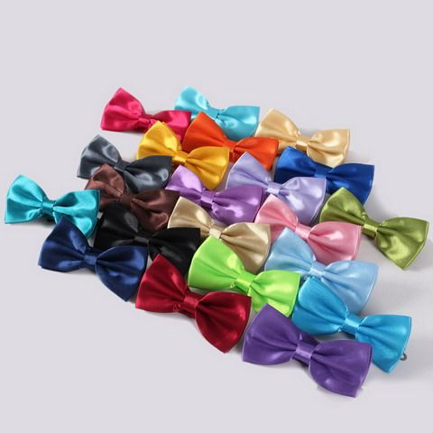 Stylish Solid Color Smooth Satin Bow Tie For Men
