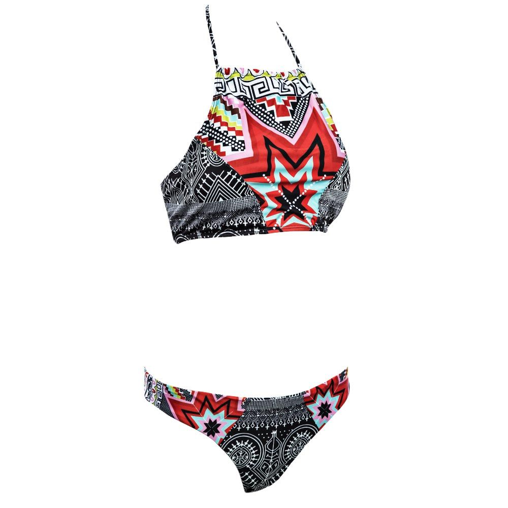 Halter High Neck Geometrical Print Boho Bikini Set