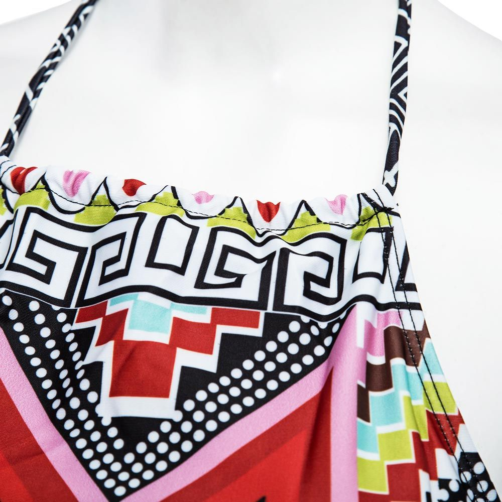 Ethnic Style Halter Geometrical Print Bikini Set For Women