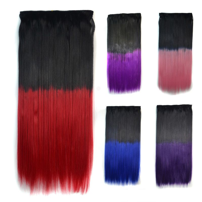 Fashion Clip In Capless Silky Straight Ombre Color Hair Extension For Women Black Red Ombre