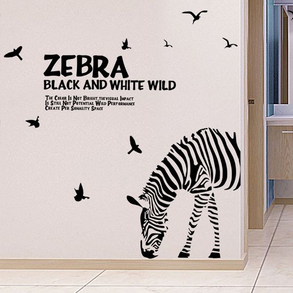 Fashion Letters and Zebra Pattern Removeable Wall Stickers For Bedroom Decor