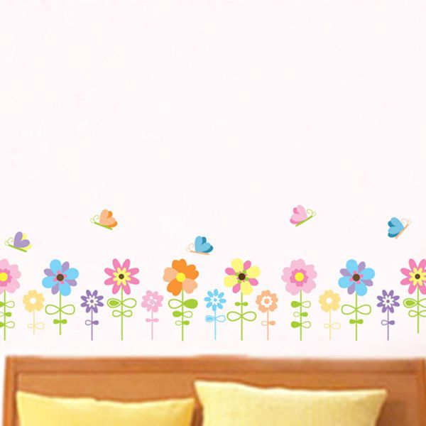 Fashionable Cartoon Sunflowers and Butterfly Pattern Removeable Wall Stickers