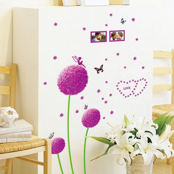 High Quality Dandelion Flowers Pattern Removeable Wall Stickers