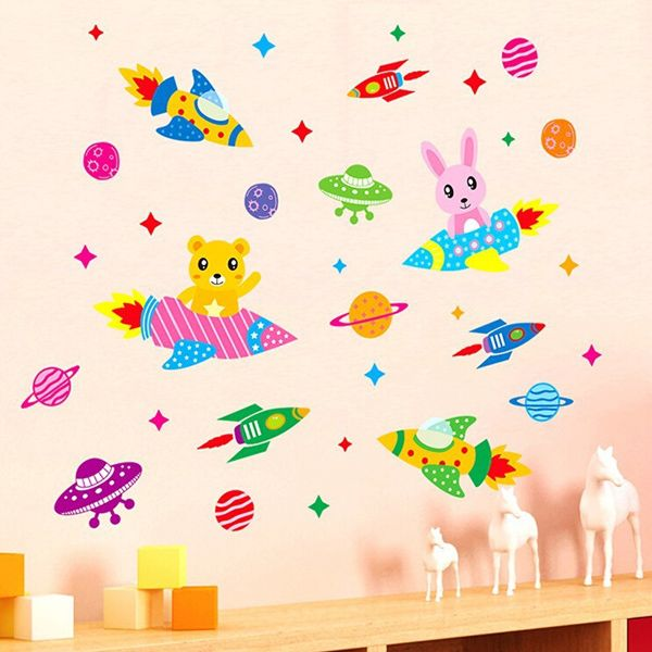 Sweet Cartoon Spaceship Pattern Removeable Wall Stickers
