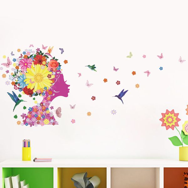 Exquisite Colorful Flowers and Girl Pattern Removeable Wall Stickers