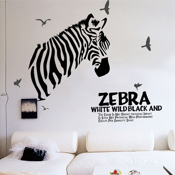 Chic Quality Zebra and Sea Mew Pattern Removeable Wall Stickers