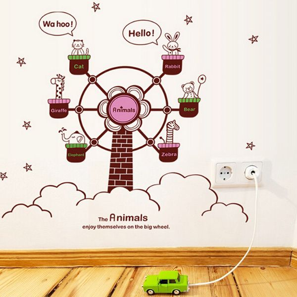 Fashion DIY Cartoon Animal and Ferris Wheel Pattern Wall Stickers For Children's bedroom