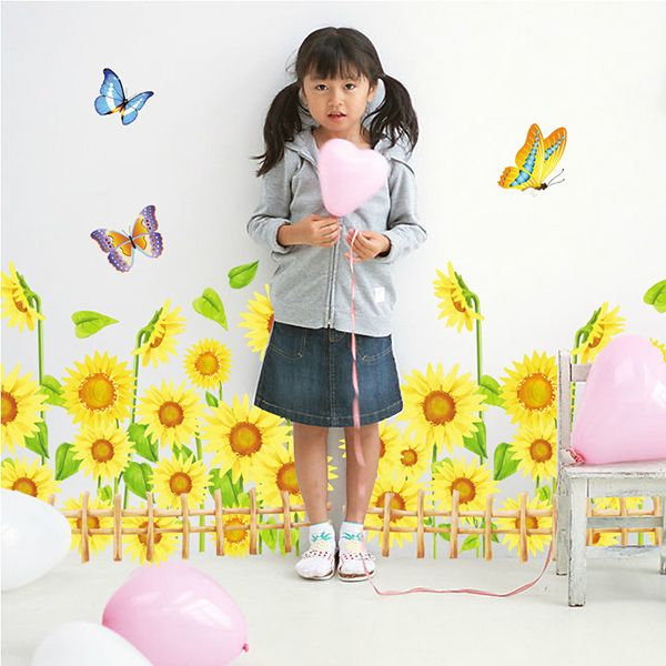 Sunflower Pattern Removeable Wall Stickers For Kids Room