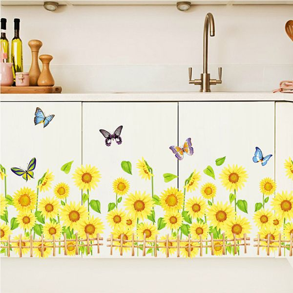 Chic Quality Sunflower Pattern Removeable Wall Stickers For Home Decor