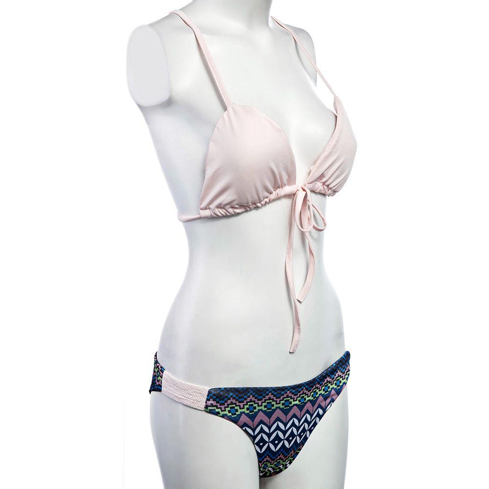 Chic Spaghetti Strap Hand-Weave Printed Bikini Set For Women