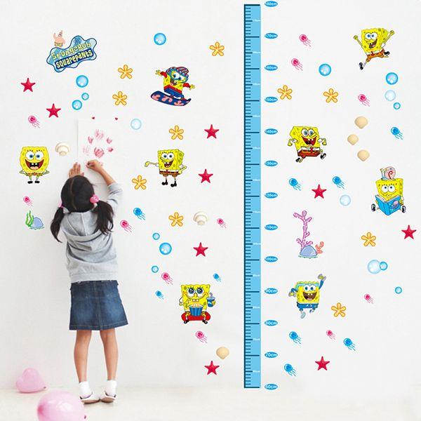 DIY Spongebob Height Measurement Cartoon Wall Stickers For Children