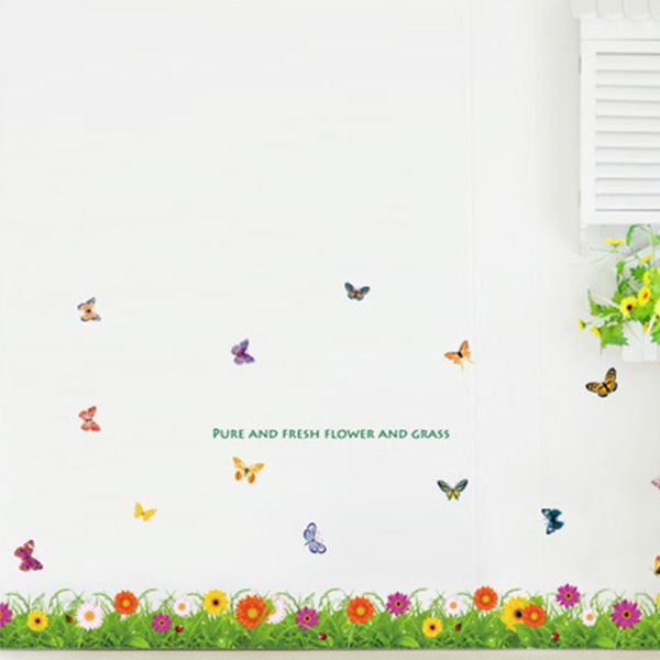 Colorful Butterfly and Flowers Removeable Wall Stickers