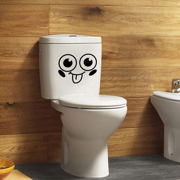 Fashion Smiling Face Pattern Toilet Sticker For Bathroom Restroom Decoration