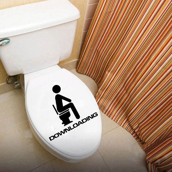 Fashion Downloading Pattern Toilet Sticker For Bathroom Restroom Decoration
