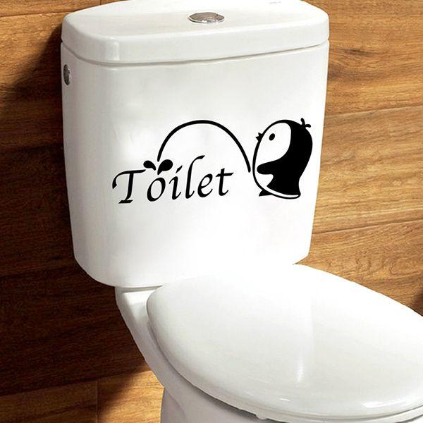 Fashion Penguin Pattern Toilet Sticker For Bathroom Restroom Decoration