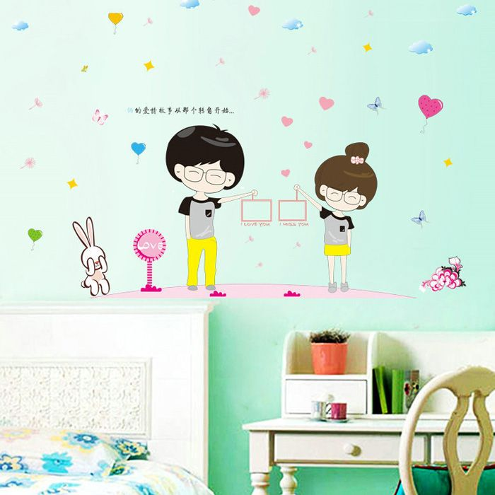High Quality Cartoon Couple Removeable Wall Stickers For Home Decor