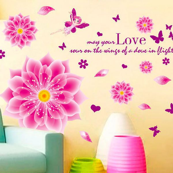High Quality DIY Romantic Flowers Pattern Wall Stickers For Home Decor