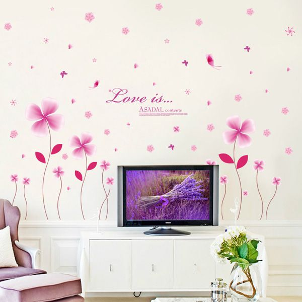 High Quality DIY Pink Flowers Pattern Wall Stickers For Children