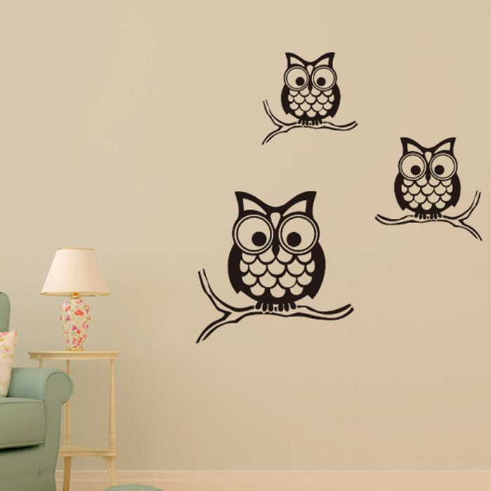 Night Owl Pattern Wall Sticker For Livingroom Bedroom Decoration