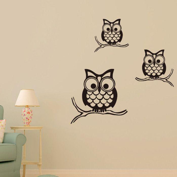 Night Owl Pattern Wall Sticker For Livingroom Bedroom Decoration