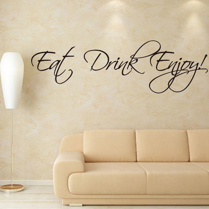 Fashion Eat Drink Enjoy Letters Pattern Wall Sticker For Livingroom Bedroom Decoration