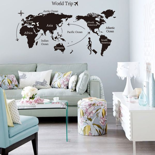 Fashion Travel World Map Pattern Wall Sticker For Livingroom Bedroom Decoration