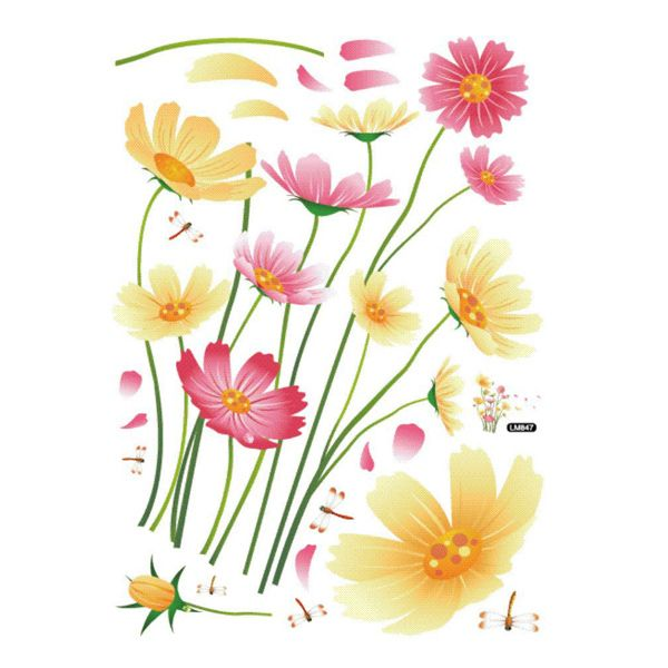 Fresh Rural Style Colorful Chrysanthemum Removeable Wall Stickers