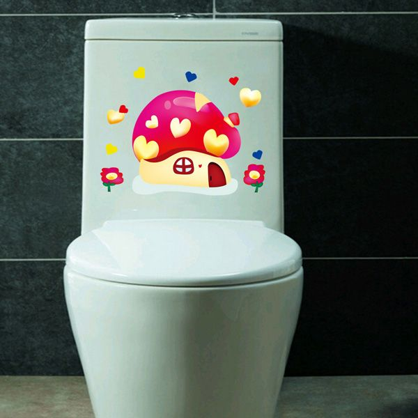 Fashion Mushroom House Pattern Toilet Sticker For Bathroom Restroom Decoration