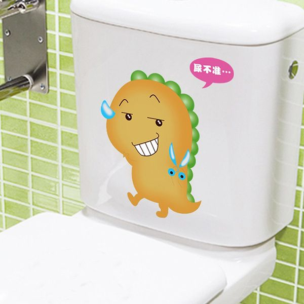 Fashion Cartoon Dinosaur Pattern Toilet Sticker For Bathroom Restroom Decoration