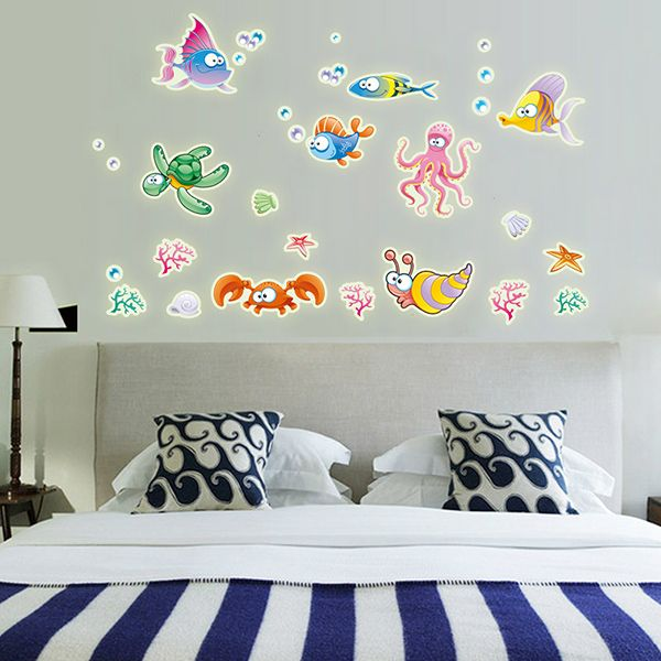Fashion Luminous Underwater World Pattern Wall Sticker For Bedroom Decoration