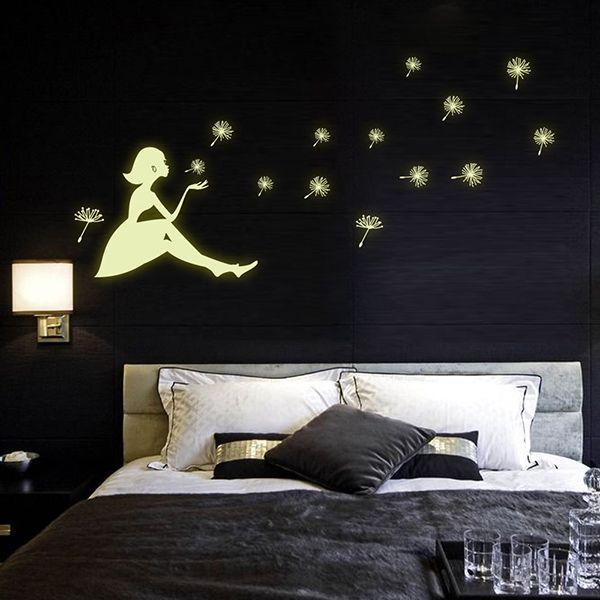 Fashion Luminous Dandelion Girl Pattern Wall Sticker For Bedroom Decoration