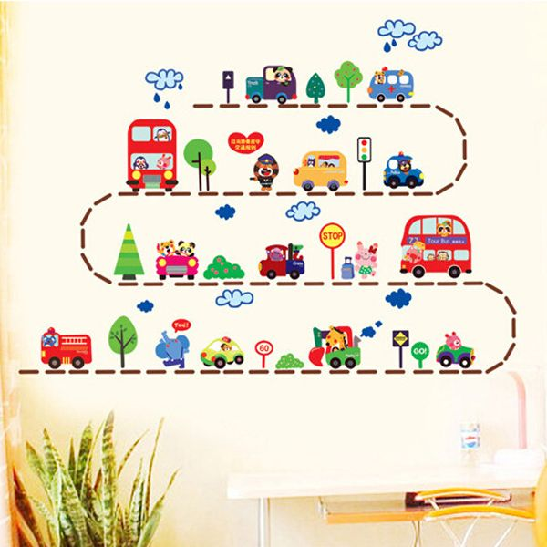 Lovely Staff Toys Cartoon Animal Car Wall Stickers For Children's Room