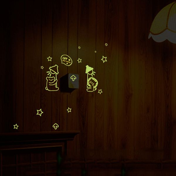 Fashion Luminous Animals Pattern Light Switch Sticker For Bedroom Decoration