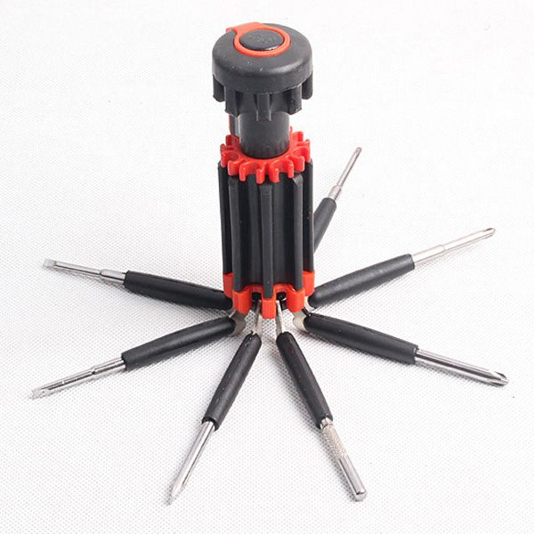 Modern Multifunctional 8 in 1 Screwdrivers Toolkit with 6 LEDs For Outdoor Activities