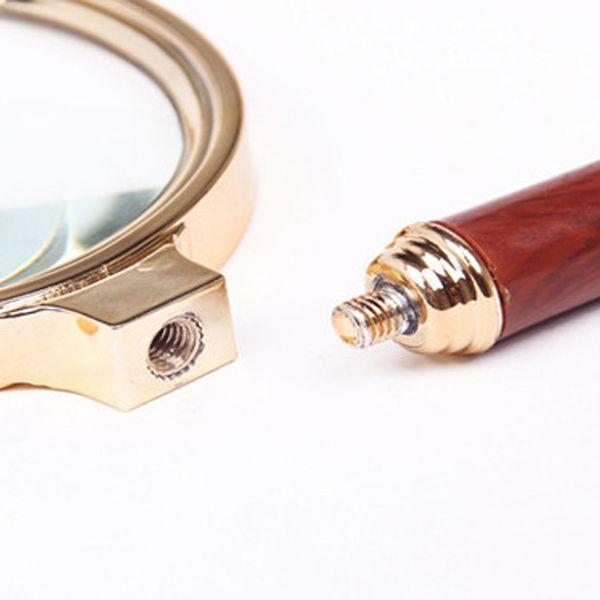 Fashion Imitation Wood Handle 90MM 10x Metal Frame Magnifying Glass