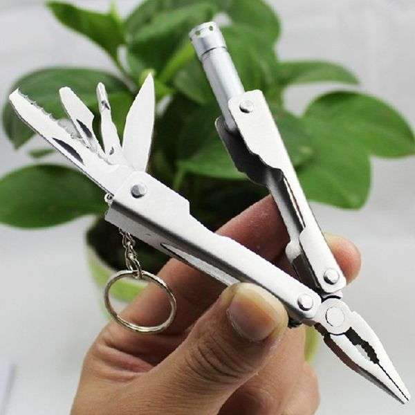 Hot Sale Outdoor Mini Silver Multi-function Combination Pliers with LED Light
