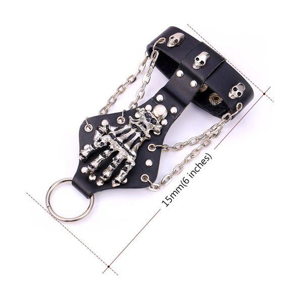 Skull Skeleton Rivet Bracelet with Ring