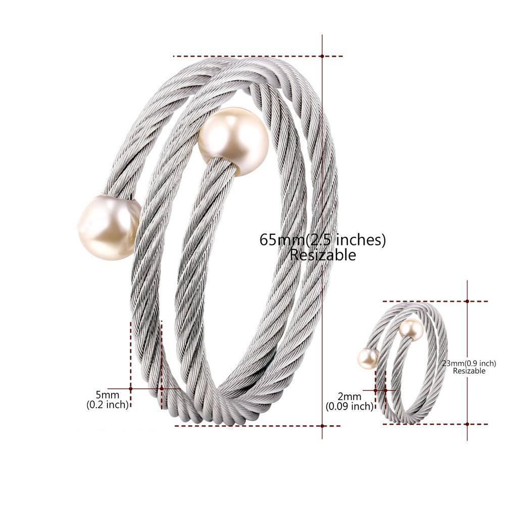 Faux Pearl Embellished Silver Bracelet and Ring