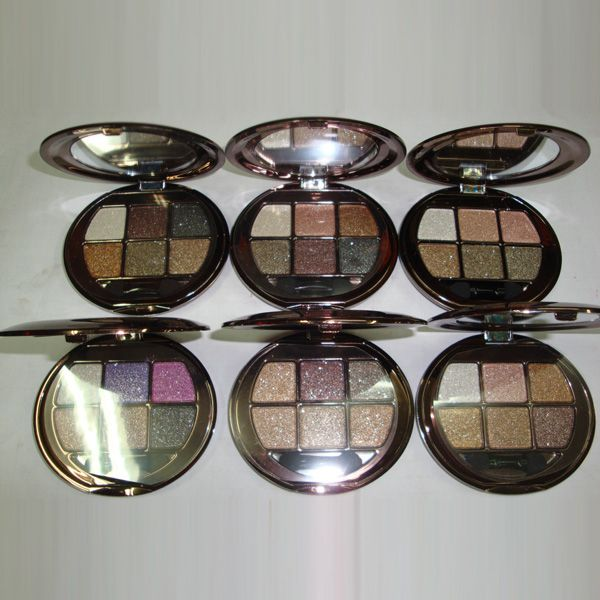 Stylish 6 Colours Sparkly Diamond Eye Shadow Palette with Mirror and Brush