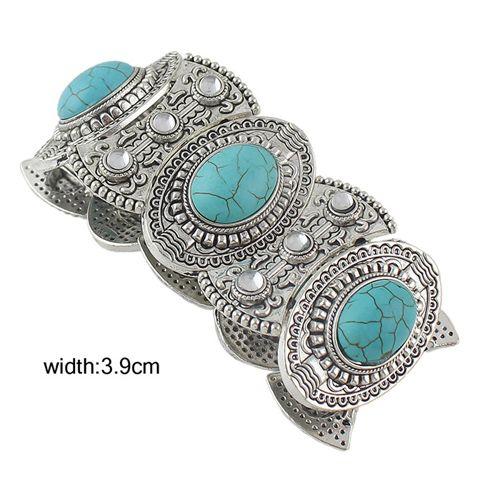 Ethnic Elliptical Turquoise Embellished Bohemian Style Bracelet
