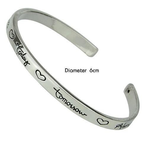 Stylish Letter and Heart Carve Embellished Cool Cuff Bracelet For Men