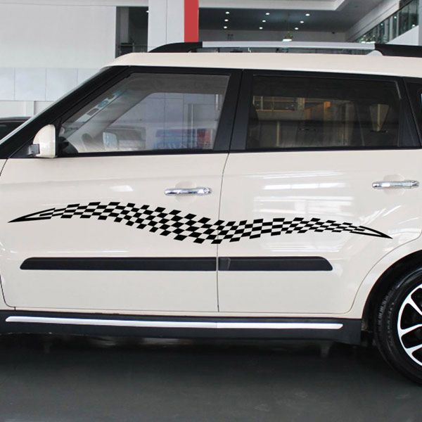 Chic Waterproof Checked Pattern Car Sticker For Automotive Decorative Supplies