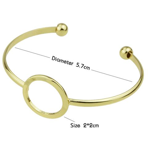 Hollow Round Embellished Plated Cuff Bracelet