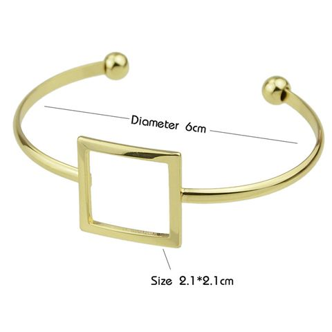 Hollow Square Embellished Plated Cuff Bracelet