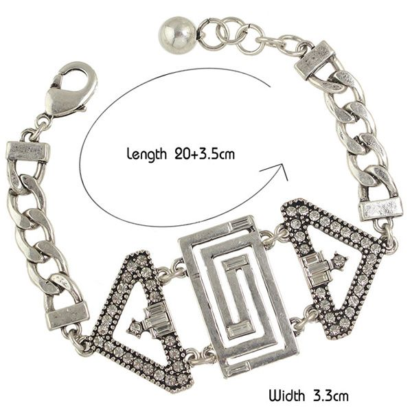 Rhinestone and Hollow Out Geometry Embellished Chunky Bracelet