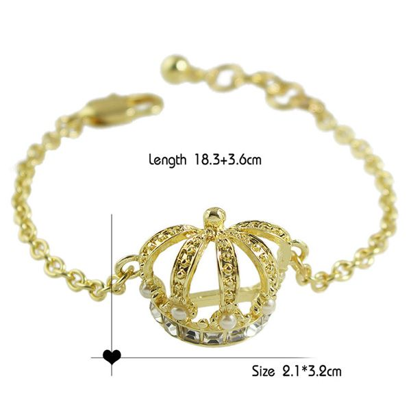 Faux Pearl and Hollow Out Crown Embellished Bracelet