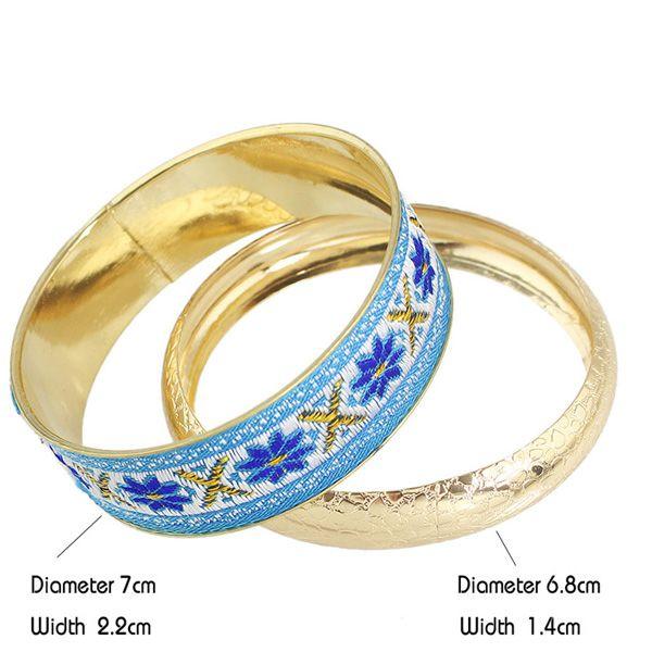 Ethnic Flower Embroidered Multilayered Bracelet