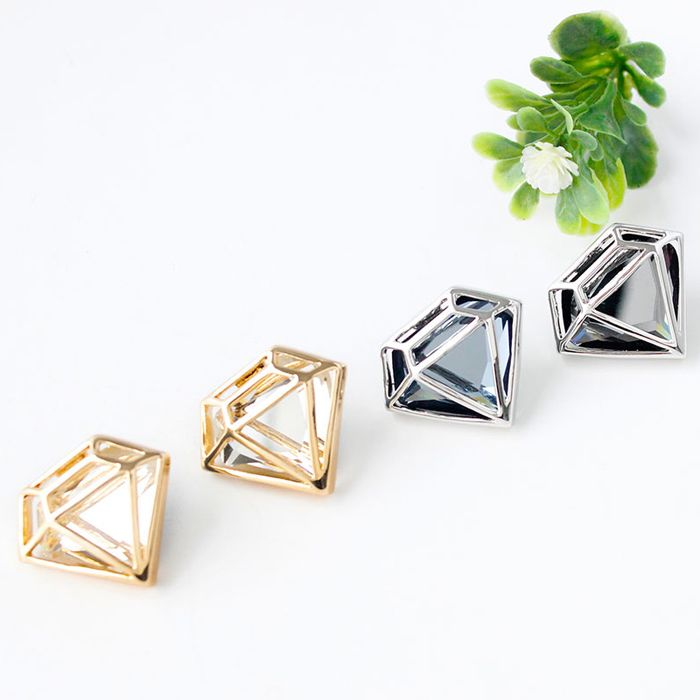 Pair of Alloy Faux Crystal Diamond Stud Earrings